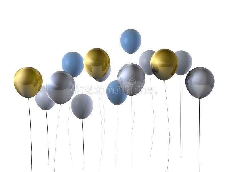 Globos del partido del oro y de la plata ilustración del vector