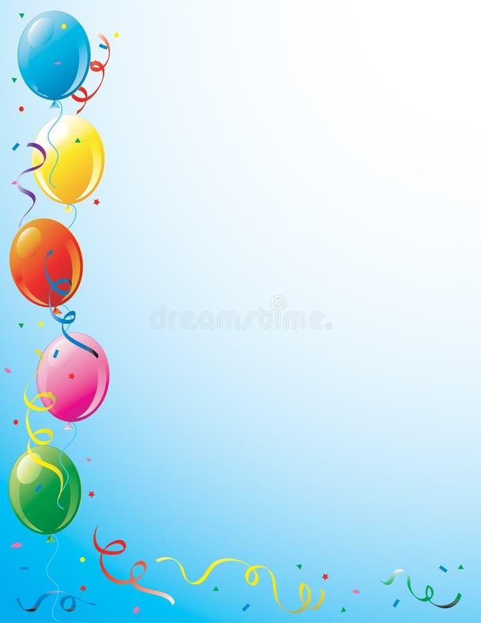 Globos del partido y frontera del confeti stock de ilustración