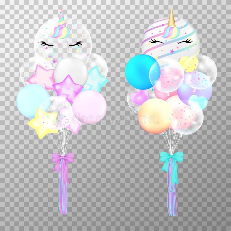 Globos del unicornio en fondo transparente Ejemplo colorido del vector del helio de los globos lindos realistas del unicornio Glo libre illustration