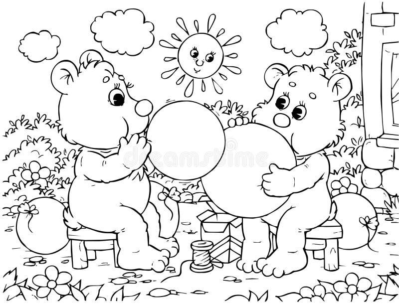 Globos divertidos del soplo de los osos fotos de archivo libres de regalías