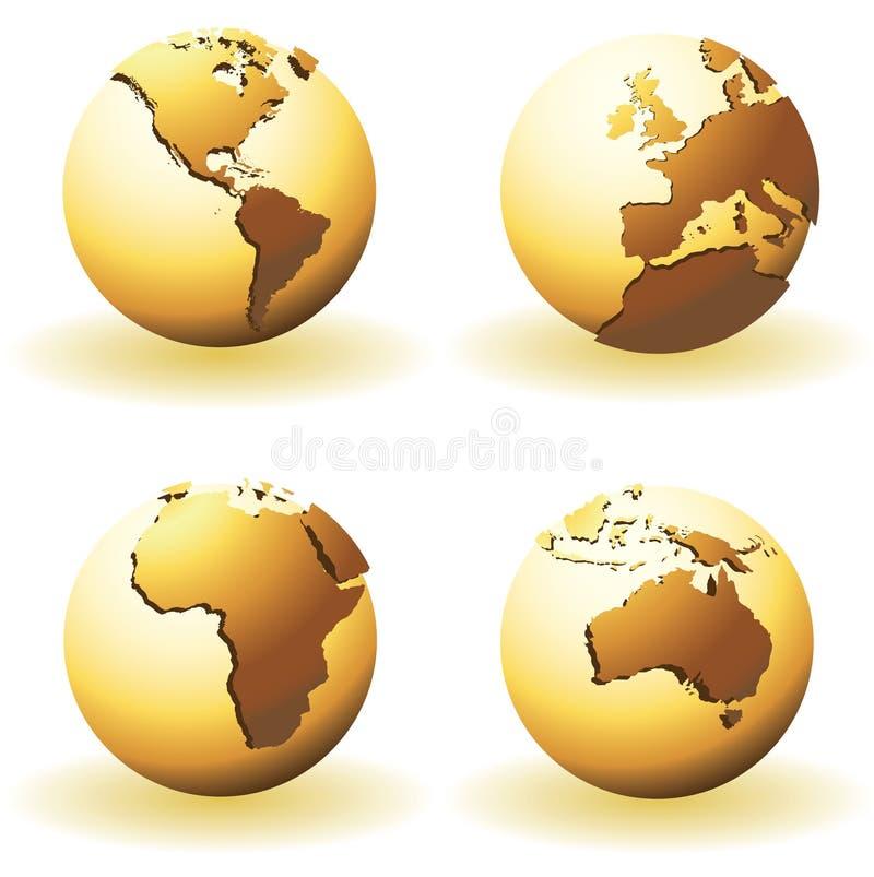 Globos do mundo ilustração do vetor