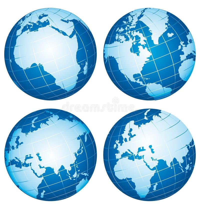 Globos do mundo da terra. ilustração royalty free