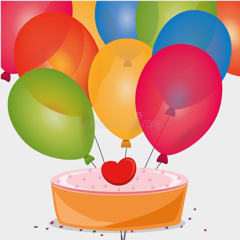 globos dulces del corazón del cumpleaños de la torta ilustración del vector
