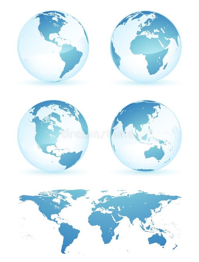 Globos e mapa da terra ilustração do vetor