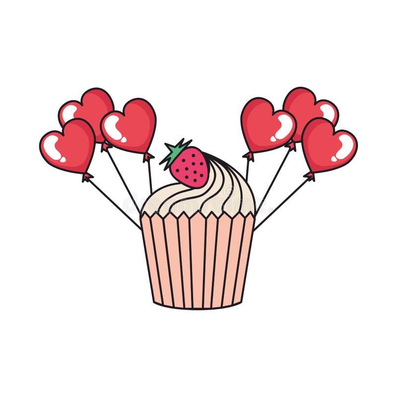 Globos en forma de corazón del partido con la magdalena libre illustration