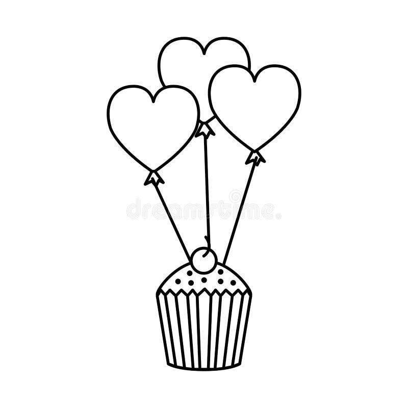 Globos en forma de corazón del partido con la magdalena ilustración del vector
