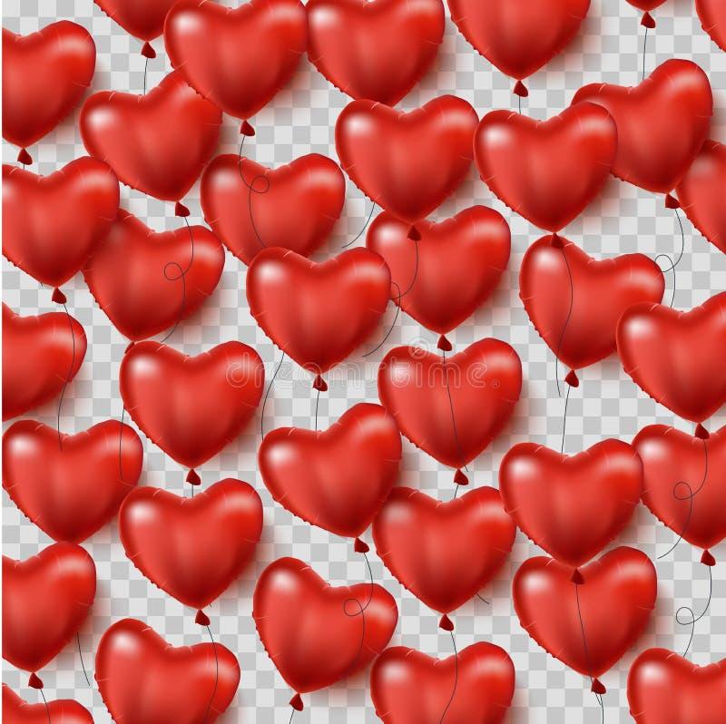 Globos en forma de corazón rojos El fondo del día de la tarjeta del día de San Valentín s con los corazones rojos hincha Vector libre illustration
