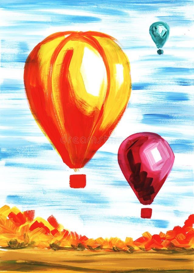 Globos gigantes en el aire contra el paisaje del otoño del cielo azul Ejemplo de acrílico a mano del arte stock de ilustración