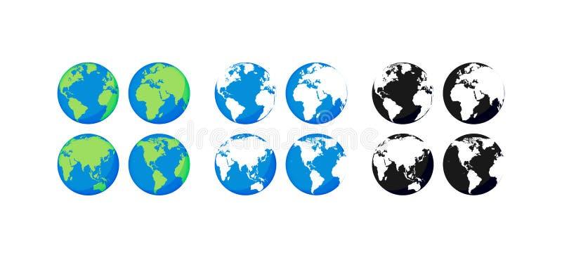 Globos grandes da terra da cole??o Globos do preto e da cor Grupo do ícone do globo e da terra Mapa de mundo planeta Ilustra??o d ilustração royalty free