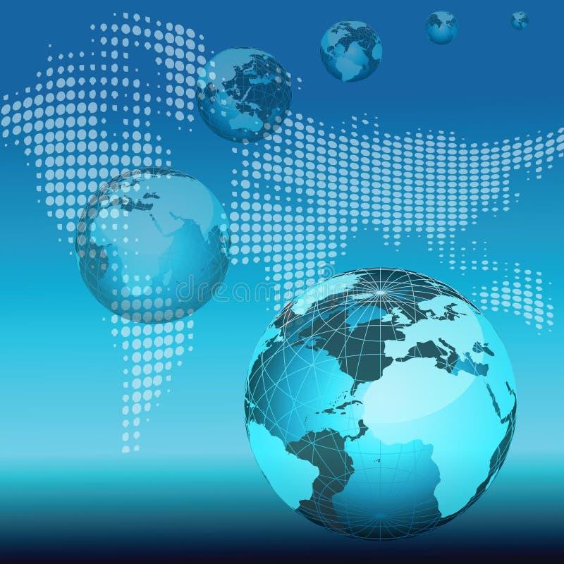 Globos, mapa de mundo ilustração royalty free