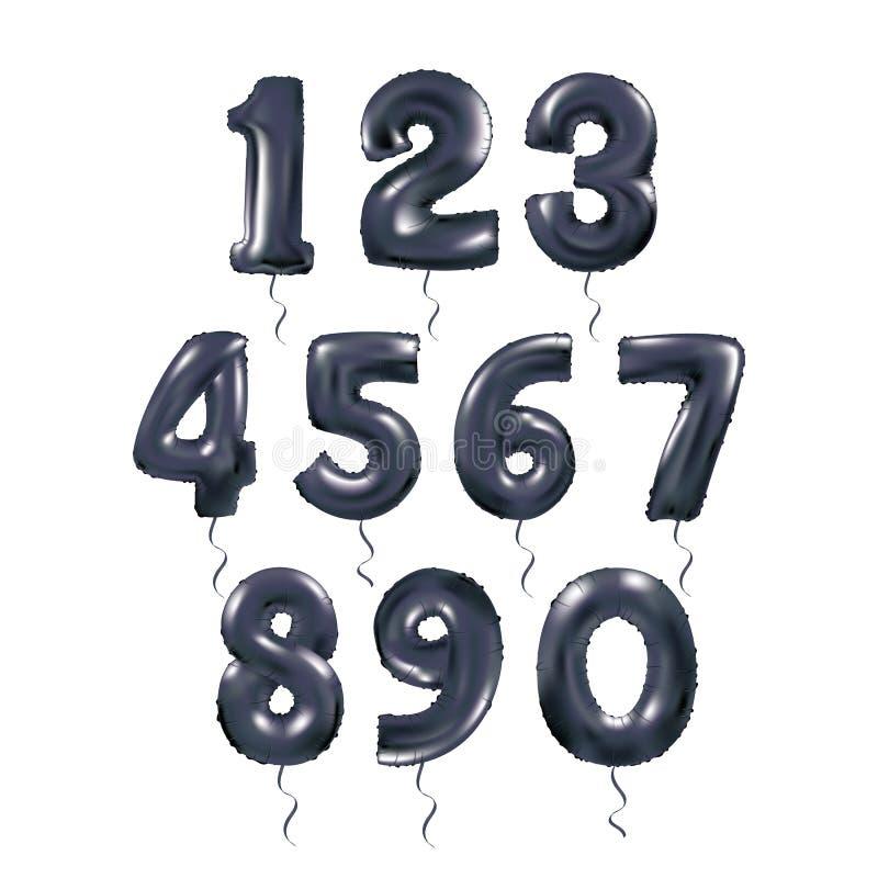 Globos metálicos 123 de la letra negra ilustración del vector