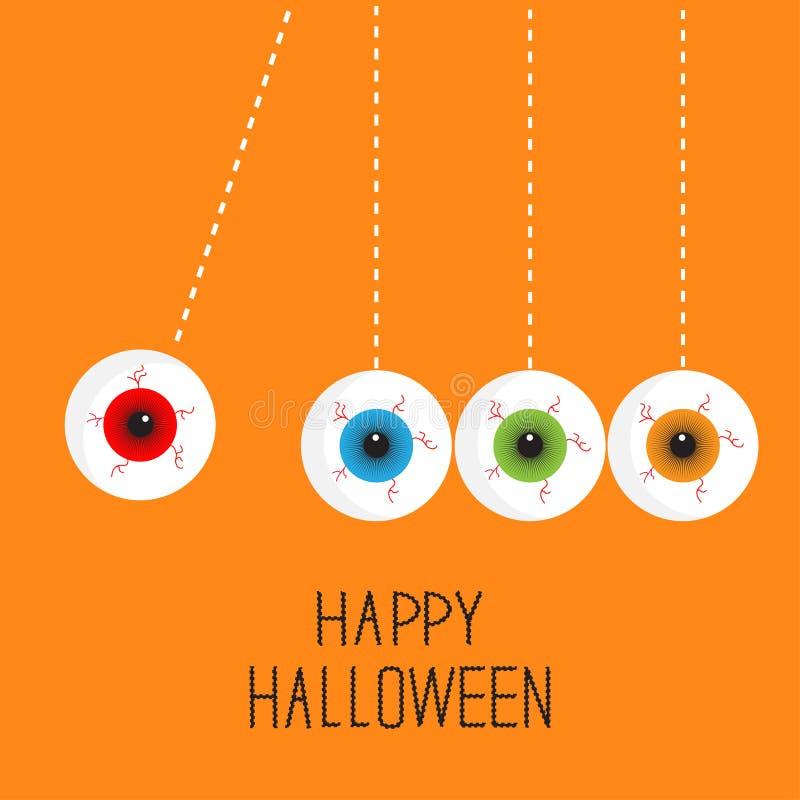 Globos oculares de suspensão com raias ensanguentados Movimento perpétuo Cartão feliz da laranja de Dia das Bruxas Estilo liso do ilustração do vetor