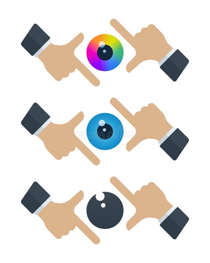 Globos oculares em quadros das mãos ilustração stock