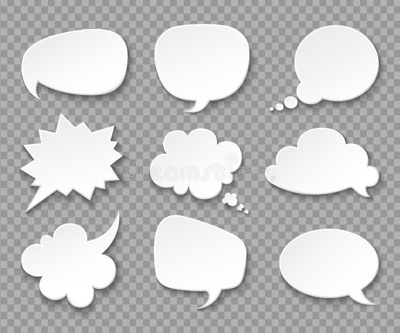 Globos pensados Nubes blancas de papel del discurso Sistema retro de pensamiento del vector 3d de las burbujas stock de ilustración