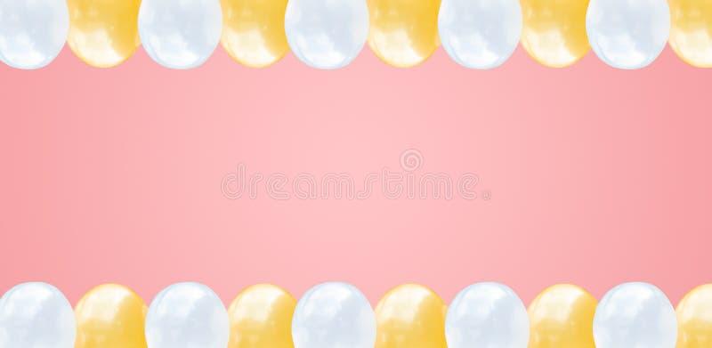 Globos planos abstractos del rosa de la endecha y blancos en fondo ancho rosado en colores pastel con el concepto del texto para  ilustración del vector