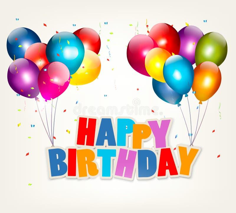 Globos que llevan a cabo una muestra del feliz cumpleaños libre illustration