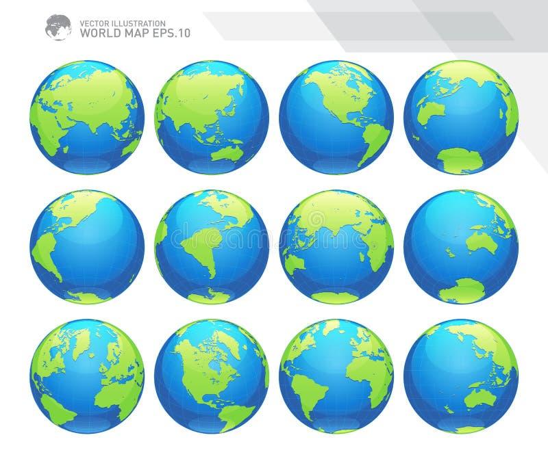 Globos que mostram a terra com todos os continentes Vetor do globo do mundo de Digitas Vetor pontilhado do mapa do mundo ilustração do vetor