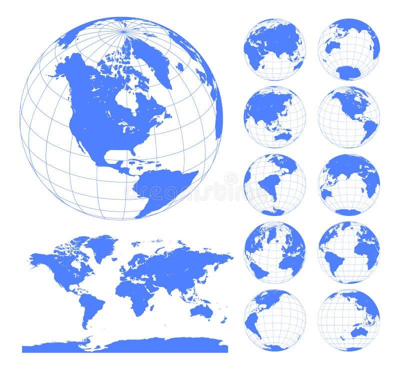Globos que mostram a terra com todos os continentes Vetor do globo do mundo de Digitas Vetor pontilhado do mapa do mundo