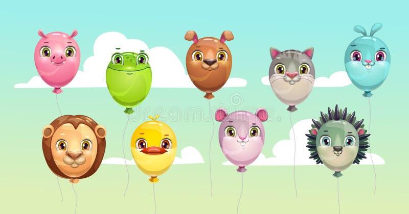 Globos que vuelan coloridos divertidos con las caras animales lindas libre illustration