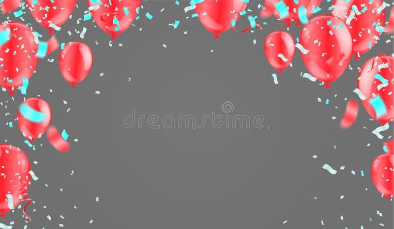 Globos que vuelan en el fondo, ideal para exhibir su boda, cumpleaños, celebración o día de fiesta stock de ilustración