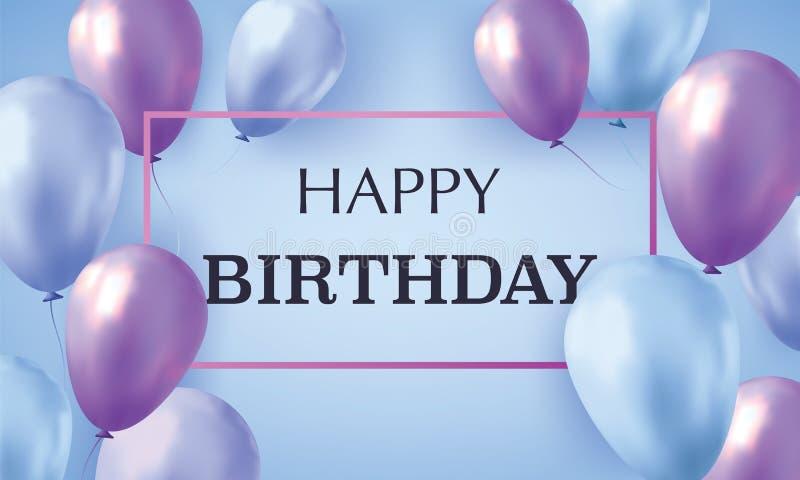 Globos realistas azules y violetas llenados de helio en fondo azul con feliz cumpleaños del texto Tarjeta _1 de la invitaci?n foto de archivo
