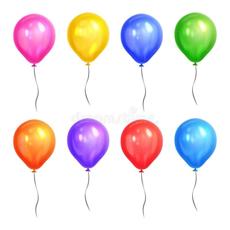 Globos realistas coloreados del helio aislados en el fondo blanco ilustración del vector