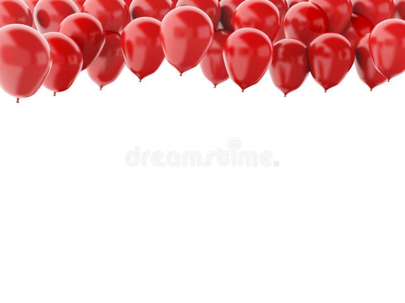 Globos rojos aislados en el fondo blanco ilustración del vector