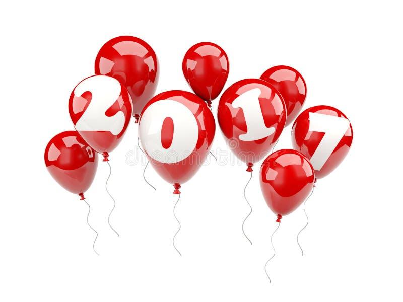 Globos rojos con la muestra del Año Nuevo 2017 stock de ilustración