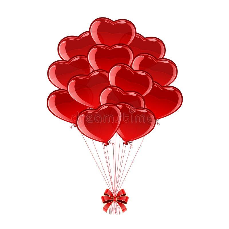 Globos Rojos De Las Tarjetas Del Da De San Valentn Ilustracin del