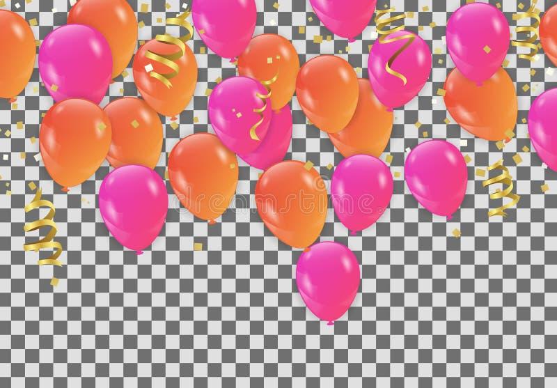 Globos rosados anaranjados, partido del diseño de concepto del confeti, celebración ilustración del vector
