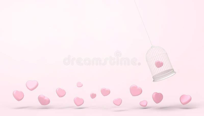 Globos rosados del corazón atrapados en la jaula blanca y el grupo mínimo del corazón, concepto del amor - estilo del flotador de ilustración del vector