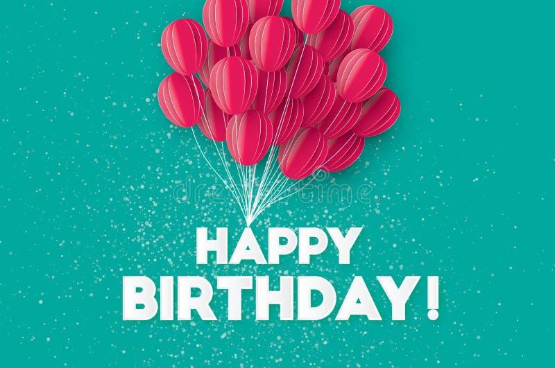 Globos rosados del corte del papel del vuelo Tarjeta de felicitación del feliz cumpleaños libre illustration