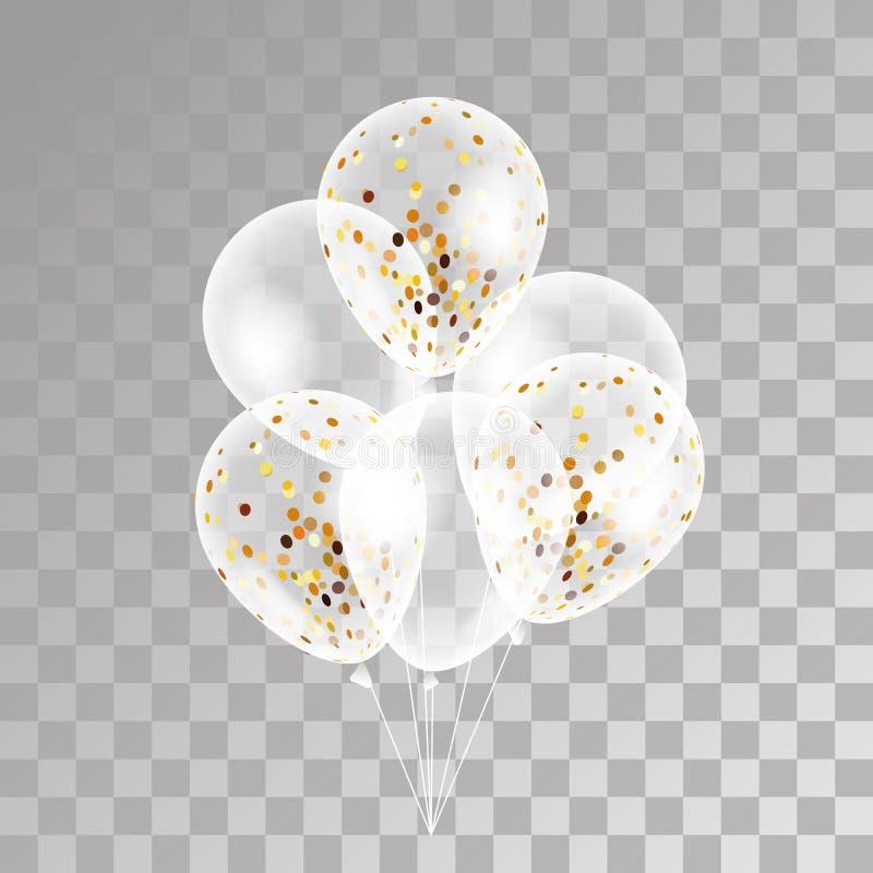 Globos transparentes del oro en fondo ilustración del vector