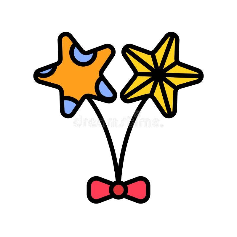 Globos vector, icono llenado relacionado del partido del verano stock de ilustración