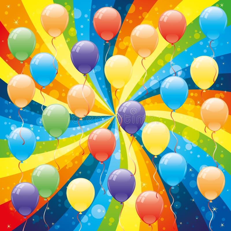 globos y arco iris ilustración del vector