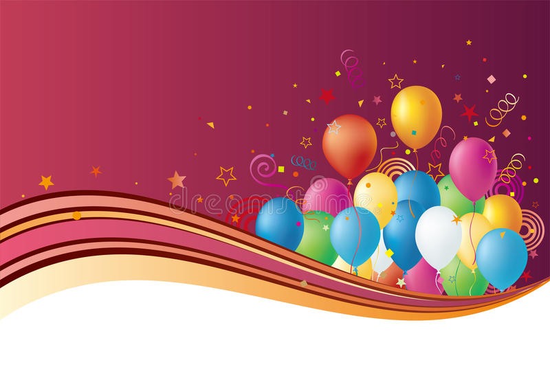globos y celebración stock de ilustración