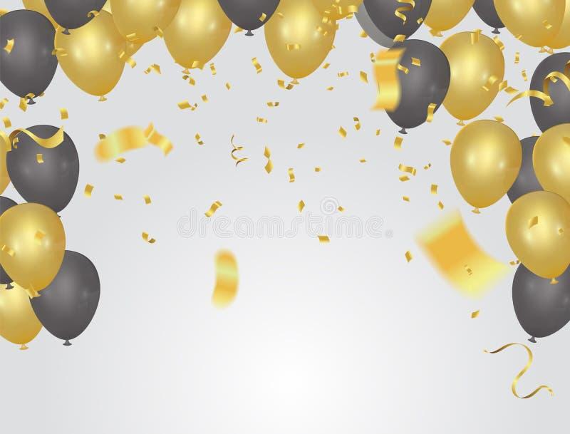 Globos y confeti de oro, invitación de la tarjeta festiva del partido Fes ilustración del vector