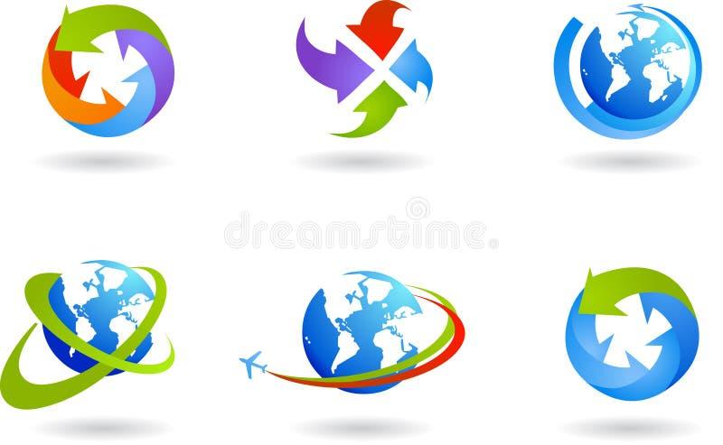 Globos y conjunto del icono del asunto global libre illustration