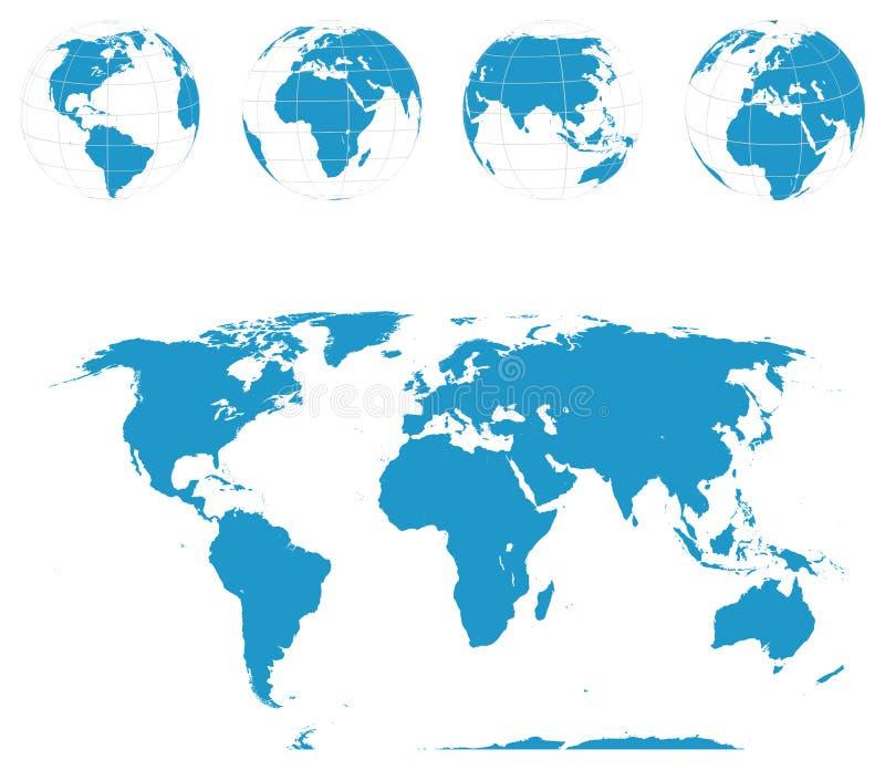Globos y correspondencia de mundo - vector stock de ilustración