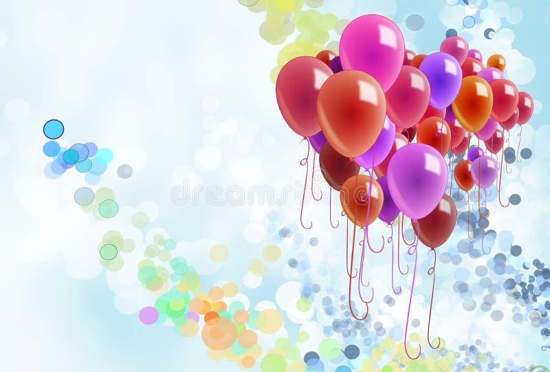 Globos y confeti coloridos ilustración del vector
