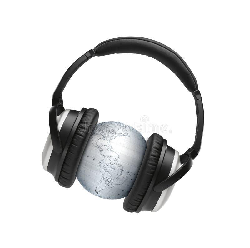 Globus с наушниками стоковые изображения rf