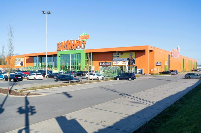 Globus Baumarkt in Kaltenkirchen, Germany. Globus is a German retail chain of hypermarkets, DIY stores and electronics stores stock photo