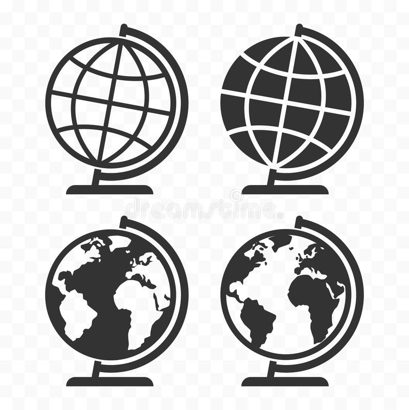 Globus-Netz-Ikonensatz Planeten-Erdkugelsymbole stock abbildung