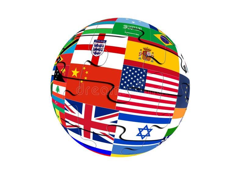 Globus puzzli z flagami Å›wiata fotografia stock