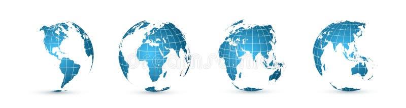 - globus ziemi Światowej mapy set Planeta z kontynentami również zwrócić corel ilustracji wektora royalty ilustracja