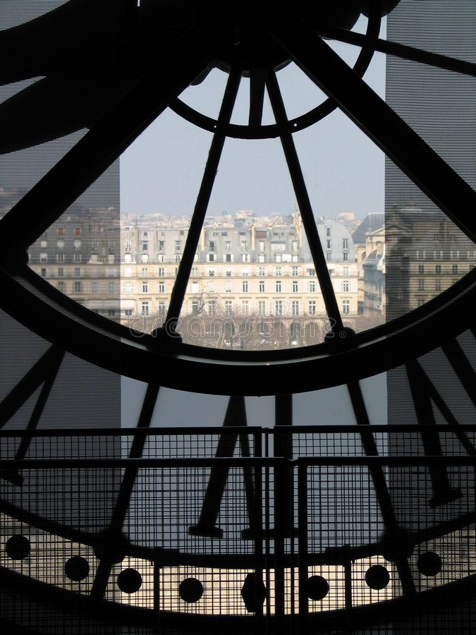 Glock des Museums d'Orsay stockfotos