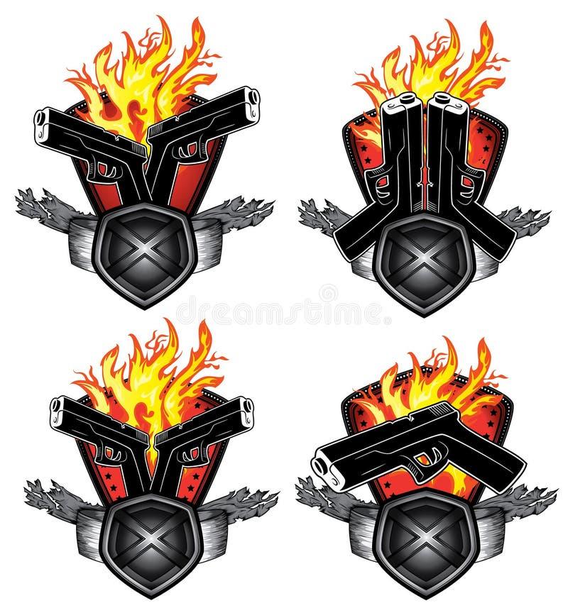 Glock Pistol Fire Background Artwork Stock Illustration