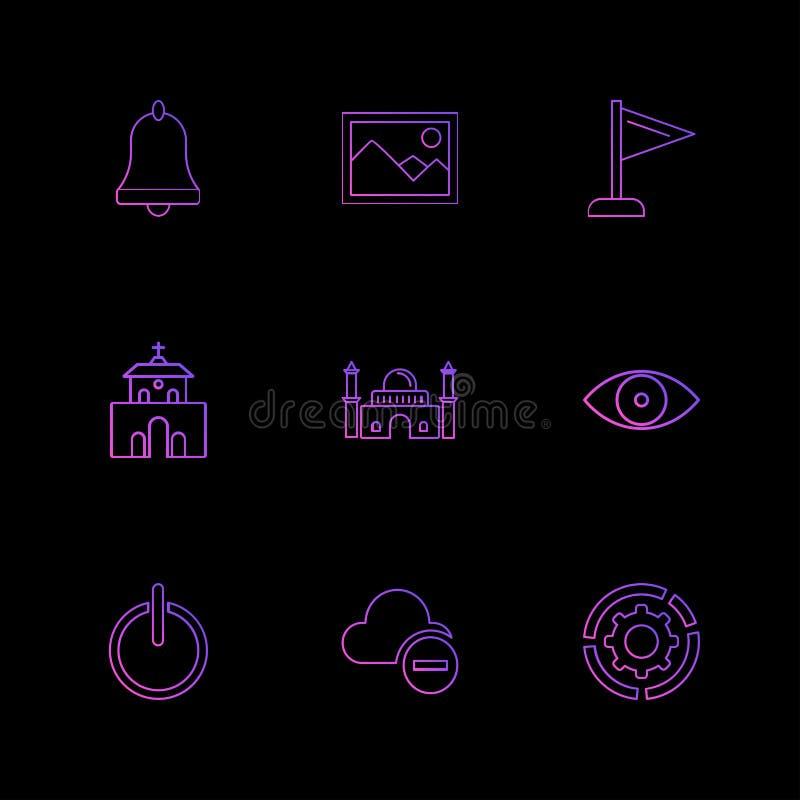 Glocke, Bild, Flagge, Kirche, Moschee, Auge weg an Wolke lizenzfreie abbildung