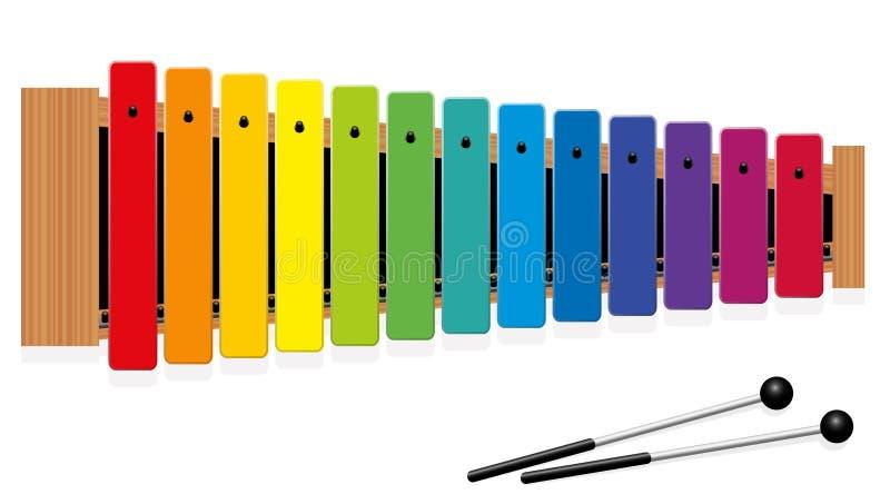 Glockenspiel Rainbow Colored Metallophone stock illustration
