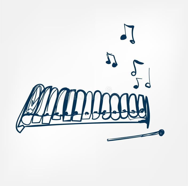 Glockenspielskizzenlinie Entwurfsmusikinstrument vektor abbildung